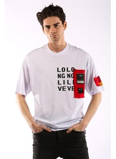 Rodrigo 3865 Long Baskı Oversize Erkek T-Shirt Beyaz